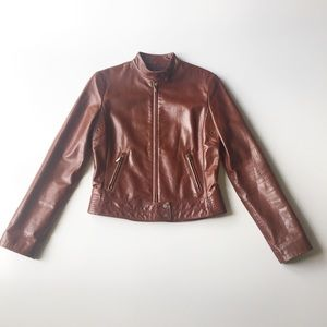 Elie Tahari Brown Leather Moto Jacket Size Small
